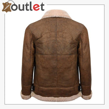 Load image into Gallery viewer, Mens Light Brown B3 Sheepskin Aviator Flying Leather Bomber Jacket