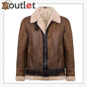 Mens Light Brown B3 Sheepskin Aviator Flying Leather Bomber Jacket