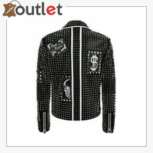 Load image into Gallery viewer, Mens Punk Biker Full Black Studded Embroidery Patches Leather Jacket - Leather Outlet