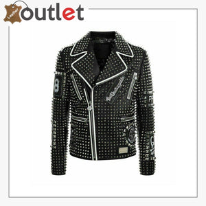 Mens Punk Biker Full Black Studded Embroidery Patches Leather Jacket - Leather Outlet