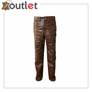 Men's real cowhide leather pant black