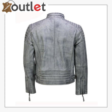 Load image into Gallery viewer, Mens Real Leather Antique Wash Retro Vintage Style Biker Jacket Slim Fit Bomber