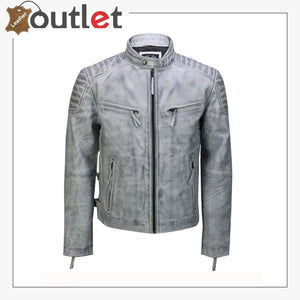 Mens Real Leather Antique Wash Retro Vintage Style Biker Jacket Slim Fit Bomber