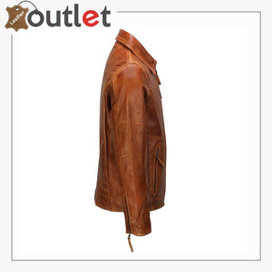Classic Collar Retro Zip Up Biker Style Smart Slim Fit Mens Real Leather Jacket - Leather Outlet