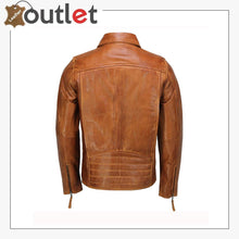 Load image into Gallery viewer, Mens Real Leather Jacket Classic Collar Retro Zip Up Biker Style Smart Slim Fit
