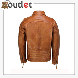 Mens Real Leather Jacket Classic Collar Retro Zip Up Biker Style Smart Slim Fit