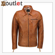 Load image into Gallery viewer, Classic Collar Retro Zip Up Biker Style Smart Slim Fit Mens Real Leather Jacket - Leather Outlet