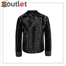 Load image into Gallery viewer, Mens Rivet Studded Biker Motorcycle Suede Leather Jacket - Leather Outlet
