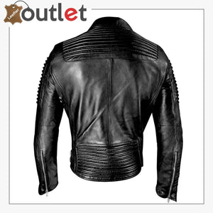 Mens Funky Motorcycle Studded Punk Retro Rider Leather Jacket