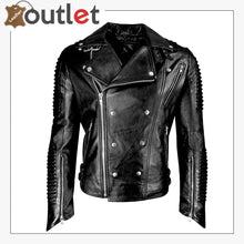 Load image into Gallery viewer, Mens Funky Motorcycle Studded Punk Retro Rider Leather Jacket