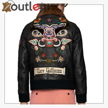 Load image into Gallery viewer, Mens Shearling Leather Bomber Jacket with Embroidery