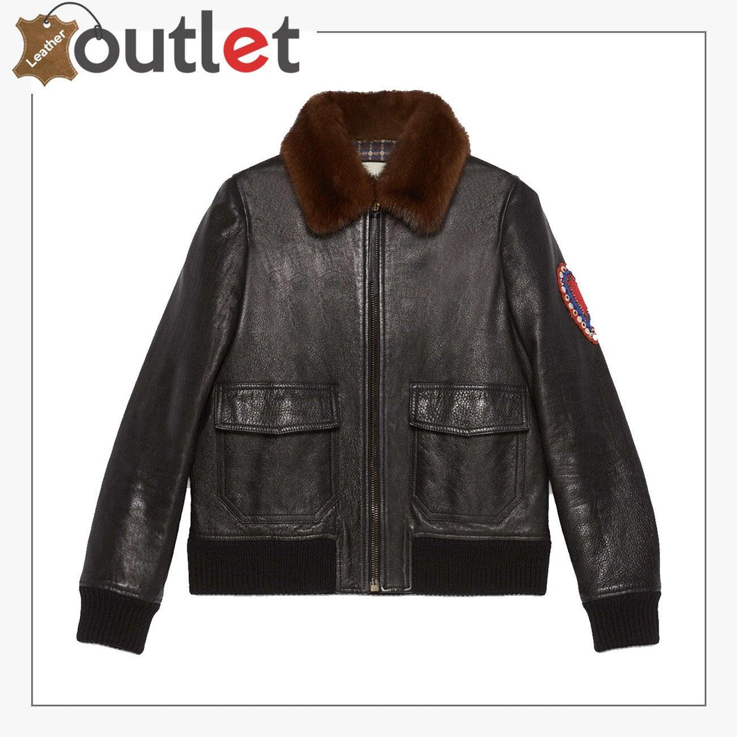 Mens Shearling Leather Bomber Jacket with Embroidery
