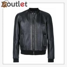 Load image into Gallery viewer, Mens Studded Bomber Biker Motorcycle Retro Cafe Racer Black Leather Jacket