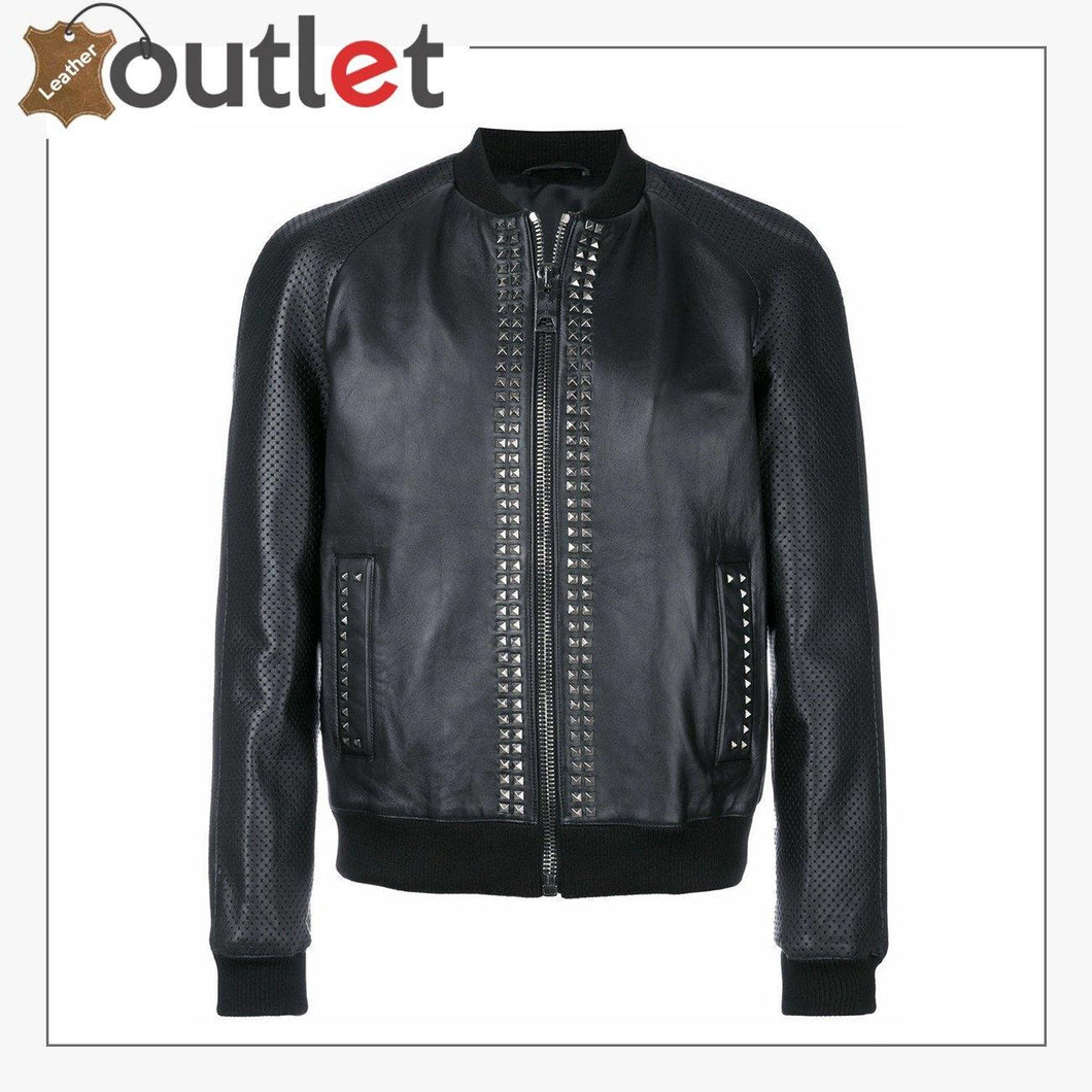 Mens Studded Bomber Biker Motorcycle Retro Cafe Racer Black Leather Jacket