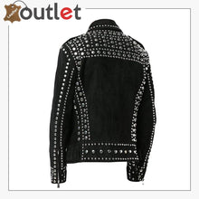 Load image into Gallery viewer, Mens Studded Punk Black Suede Leather Jacket