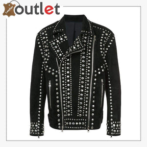 Mens Studded Punk Black Suede Leather Jacket