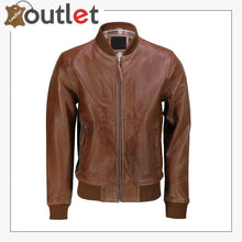 Load image into Gallery viewer, Mens Tan Soft Real Leather Smart Casual Vintage Bomber Biker Style Jacket