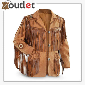 Mens Traditional Cowboy Western Leather Jacket Coat