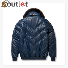 Load image into Gallery viewer, Mens V-Bomber Navy Leather Jacket
