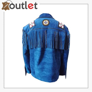Mens Western Cowboy Fringes Leather Jacket