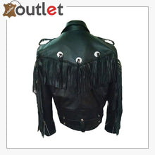 Load image into Gallery viewer, Mens Western Genuine Leather Cowboy Biker Fringed Jacket