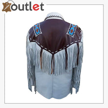 Load image into Gallery viewer, Mens Western Leather Jacket with Fringes & Beads