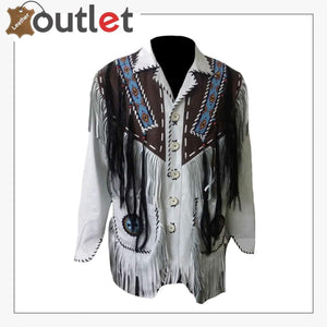 Mens Western Leather Jacket with Fringes & Beads