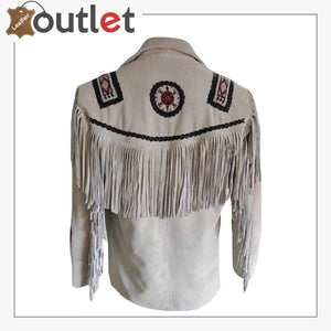 Mens Western Suede Leather Fringed Jacket