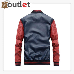 Mens Fashion Leather Jacket Casual Baseball Stand Collar Slim Fit Coat