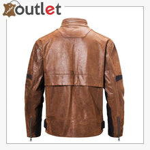 Load image into Gallery viewer, Mens Fashion Leather Motorcycle Jacket Brown Biker Stand Collar