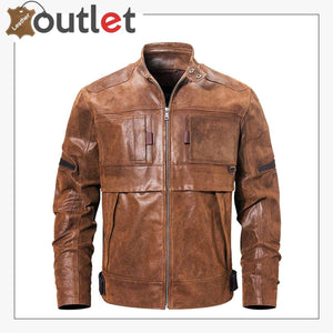 Mens Fashion Leather Motorcycle Jacket Brown Biker Stand Collar