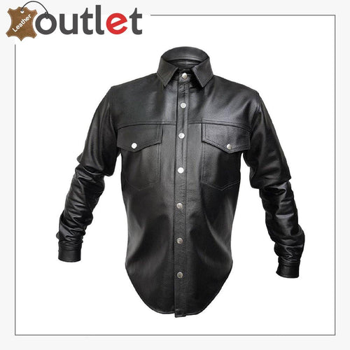 Handmade Mens Genuine Leather Black Police Shirt