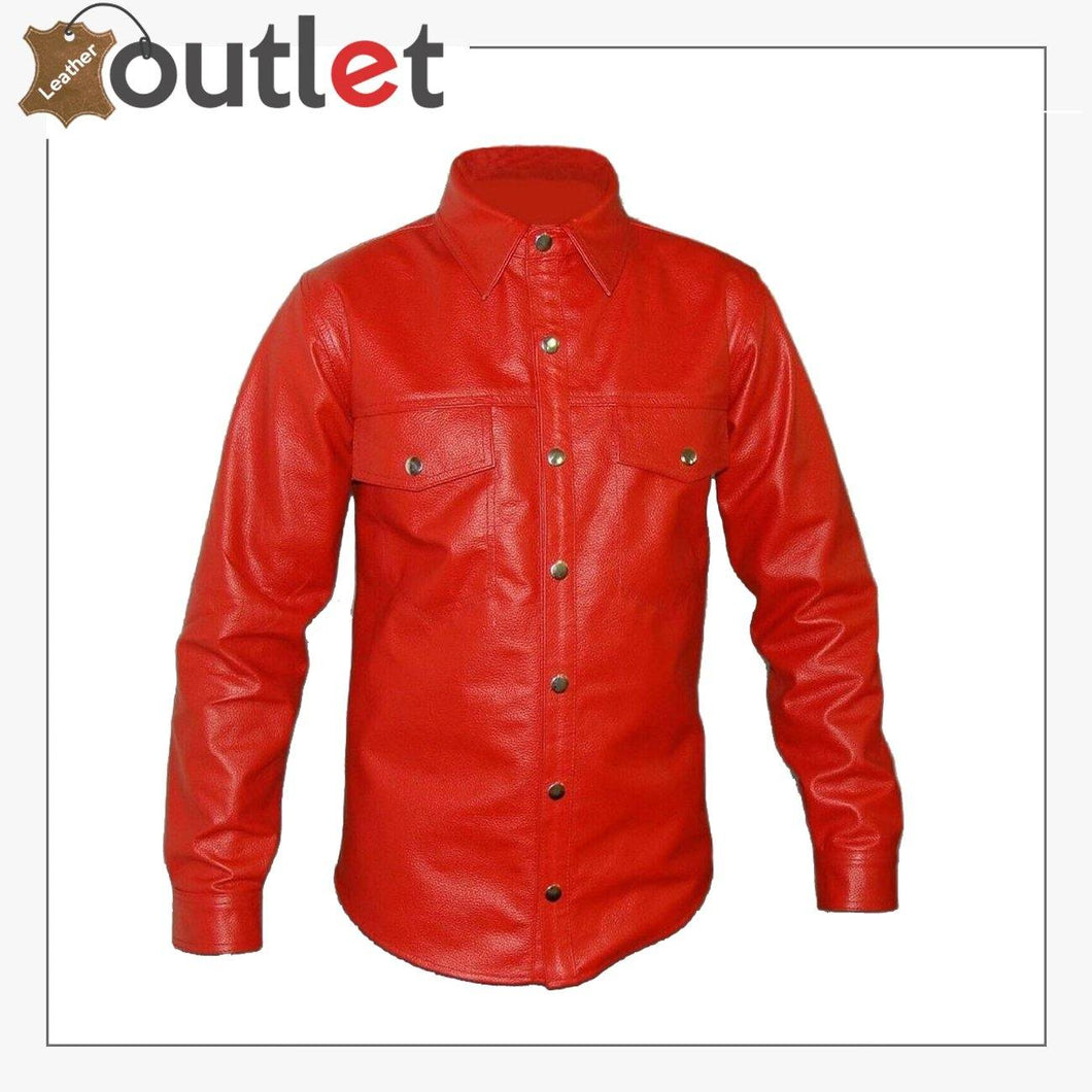 Red Mens Genuine Leather Red Police Shirt