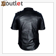 Load image into Gallery viewer, Handmade Mens Real Leather Black Police Shirt for Sale