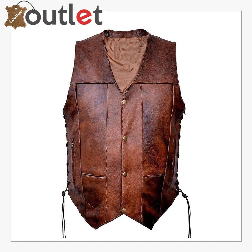 Motorcycle Biker Pure Rider Leather Vest