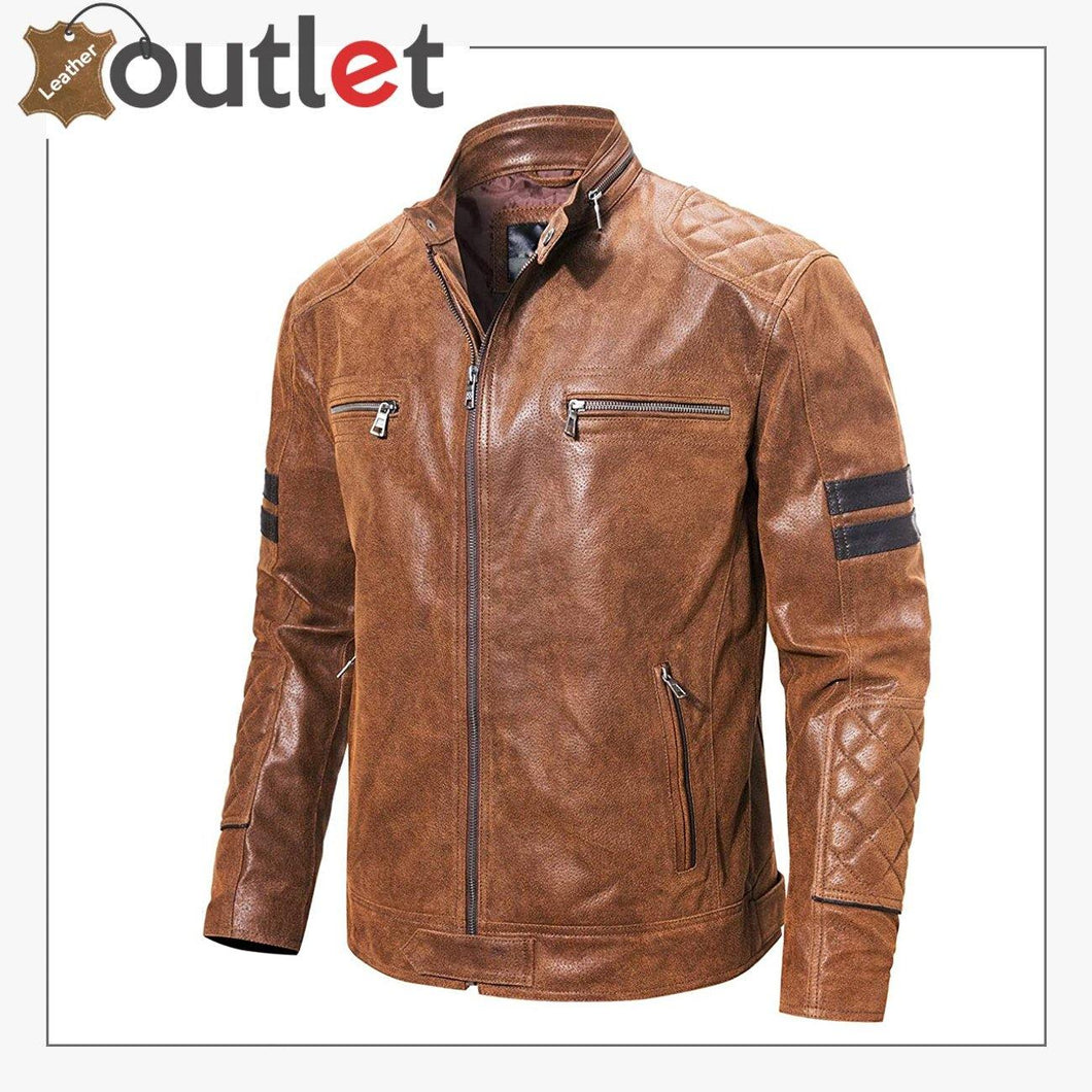 Motorcycle Fashion Leather Jacket Brown For Mens