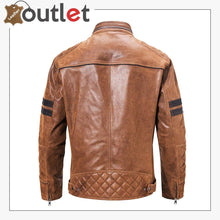 Load image into Gallery viewer, Motorcycle Fashion Leather Jacket Brown For Mens