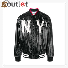 Load image into Gallery viewer, Womens Leather bomber jacket with NY Printed