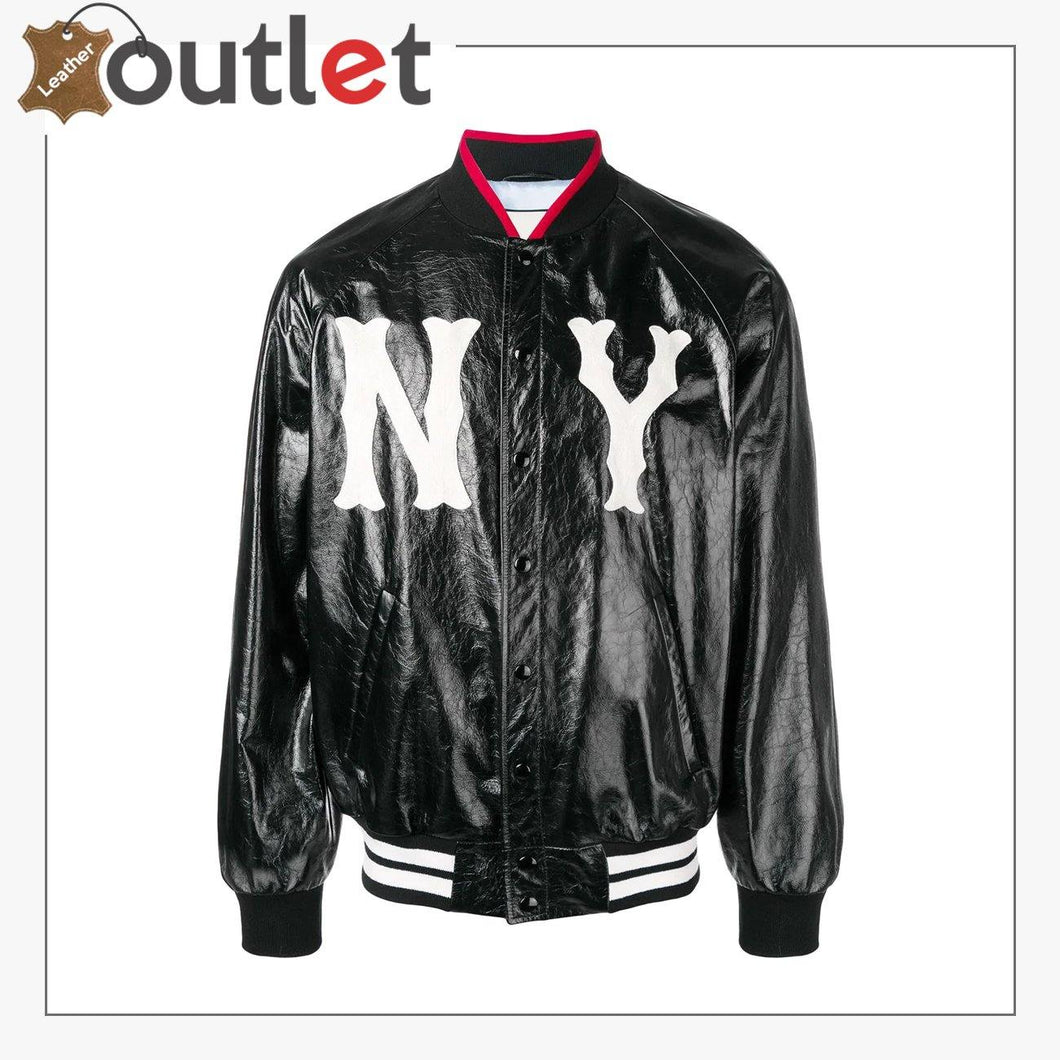 Womens Leather bomber jacket with NY Printed
