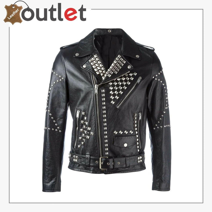 New Handmade Men's Black Fashion Studded Punk Style Leather Jacket