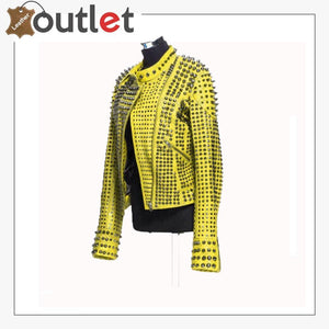 New Handmade Women's Yellow Fashion Studded Punk Style Leather Jacket