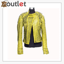 Load image into Gallery viewer, New Handmade Women's Yellow Fashion Studded Punk Style Leather Jacket