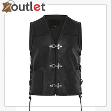 Load image into Gallery viewer, New Mens Leather Waistcoat Biker Vest