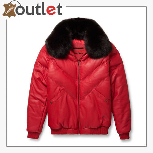 New Red Styles V-Bomber Leather Jacket For Men