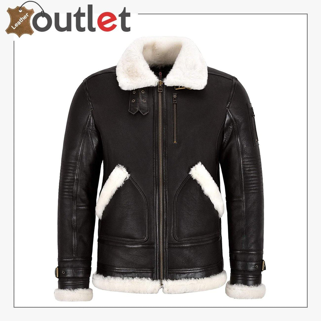 New Sheepskin B3 Leather Bomber Jacket Brown For Men