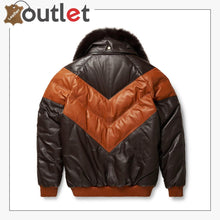 Load image into Gallery viewer, New Styles V-Bomber Leather Jacket