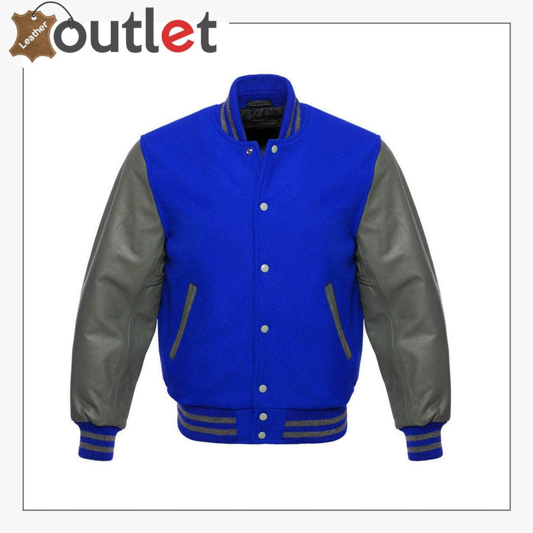 New Varsity Letterman Wool Jacket with Real Leather Sleeves - Leather Outlet