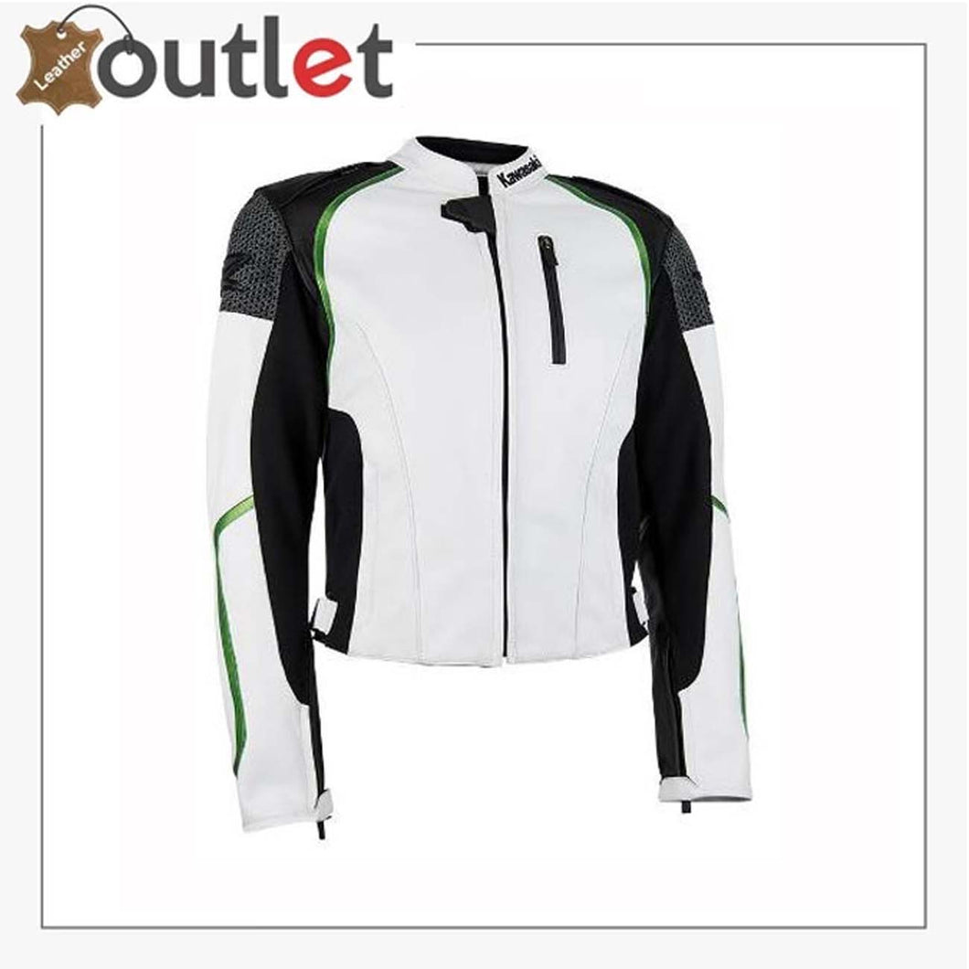 Kawasaki Man Racing Motorbike Leather Jacket BMJ