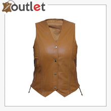 Load image into Gallery viewer, Womens Brown New Motorcycle Biker Soft Leather Vest Waistcoat