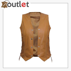 Womens Brown New Motorcycle Biker Soft Leather Vest Waistcoat